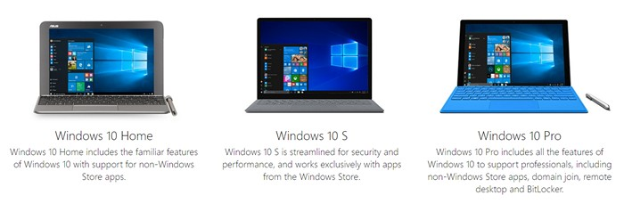 Windows 10 S vs Windows 10 Home vs Windows 10 Pro