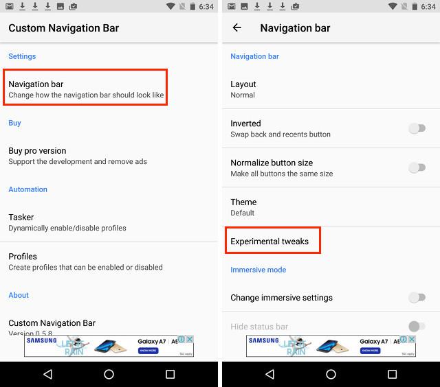 Come impostare le icone della barra di navigazione personalizzate in Android (senza root)