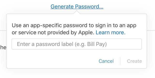 Senha específica do aplicativo