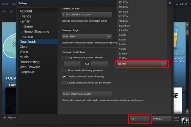 Como aumentar a velocidade de download no Steam