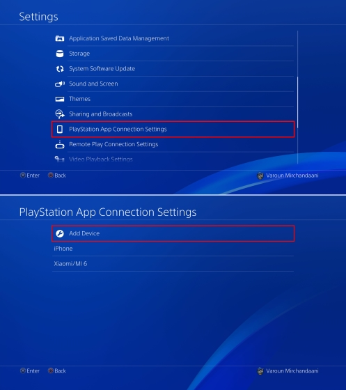 PS4 Settings Add Device
