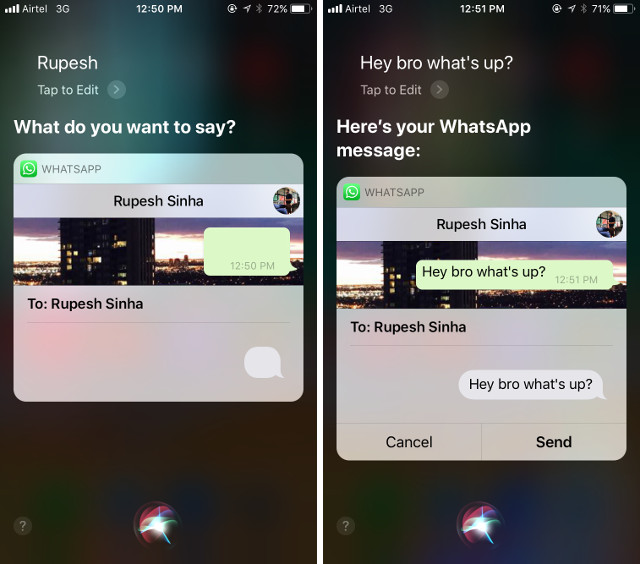 Sending WhatsApp via Siri