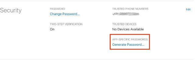 gerando a senha específica do aplicativo