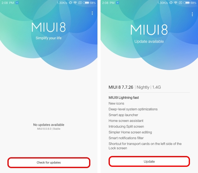 Check for update for MIUI9