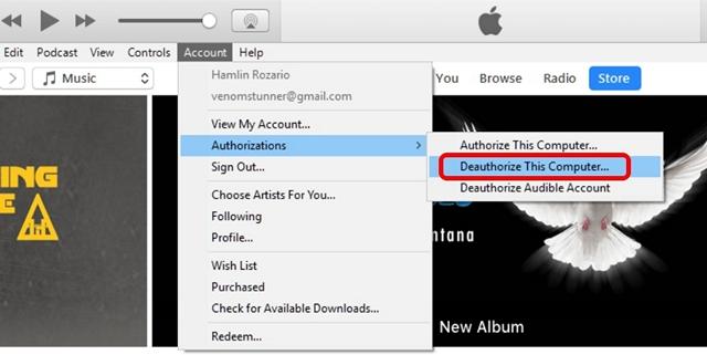 iTunes'da Bir Bilgisayarın Yetkisini Kaldırma