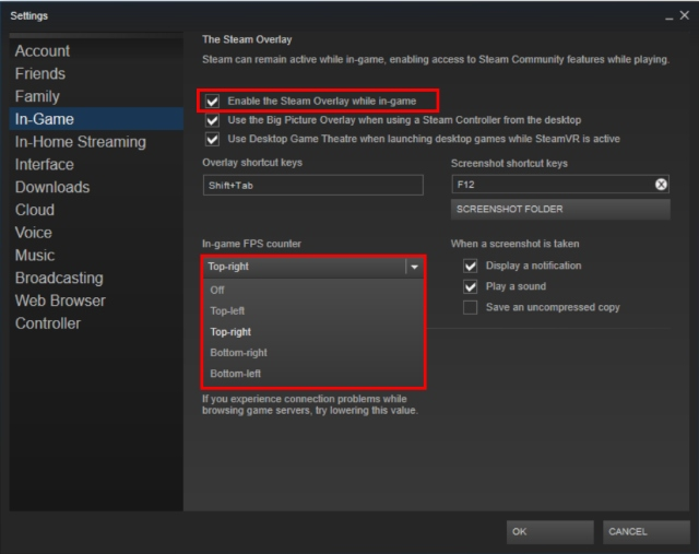 Steam Overlay and FPS Meter