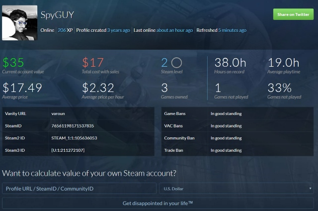 Steam Value