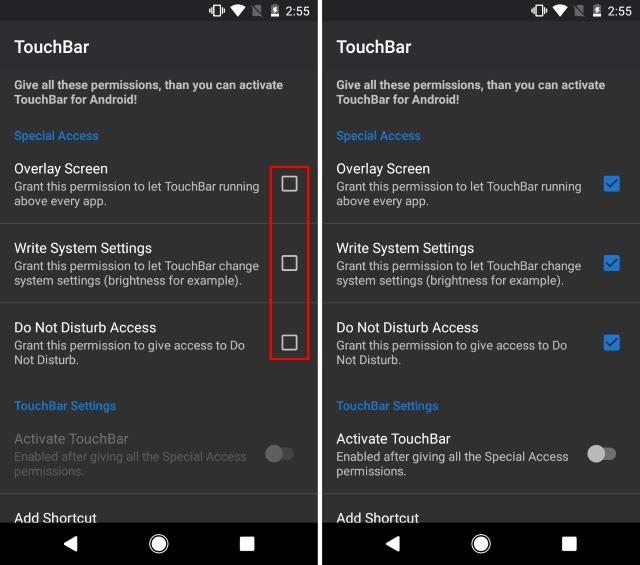 TouchBar Permissions