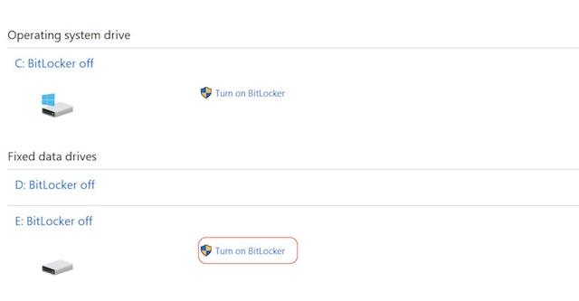 Turning On Bitlocker
