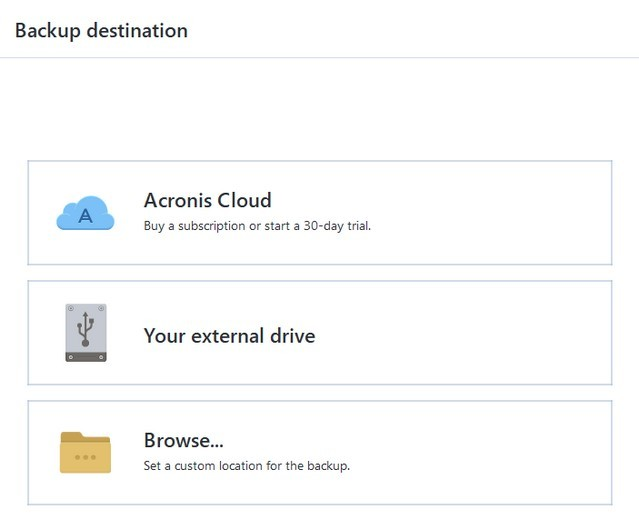 Acronis Backup Destination