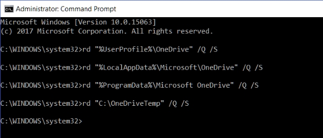 Command Prompt OneDrive Leftover Files