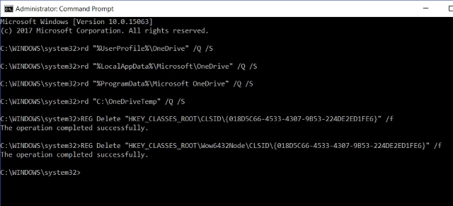 Command Prompt OneDrive Leftover Registry Keys