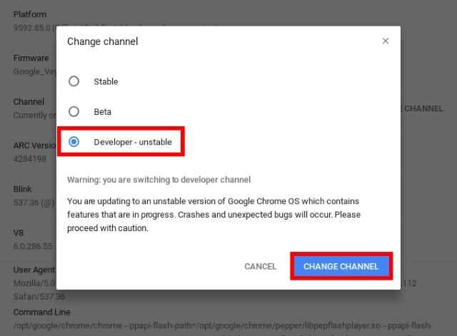 Entwickler-Channel wechseln