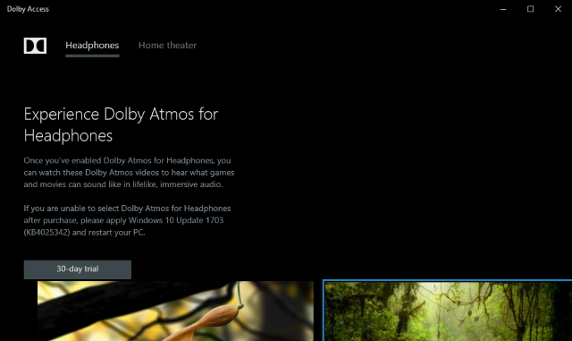 Dolby Atmos 30 Day Trial