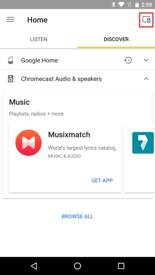 Bouton des appareils Google Home