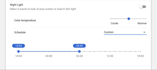 Night Light Temperature and Schedule