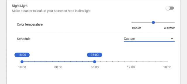 Nachtlichttemperatur und Zeitplan