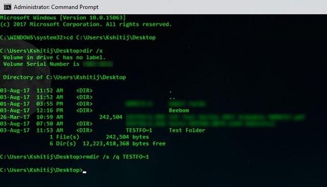Remove Directory Command