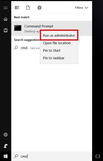 Führen Sie CMD als Admin aus