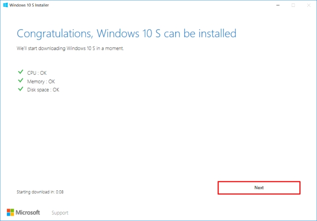Windows 10 S Installer Requirements Check
