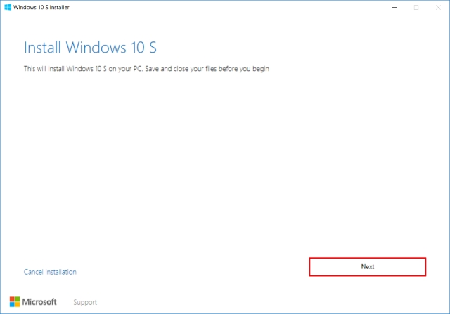 Windows 10 S Installer Start