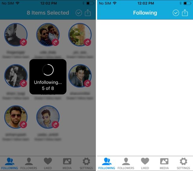 iPhone InstaClean Unfollowing
