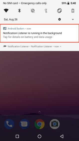 persistant notification