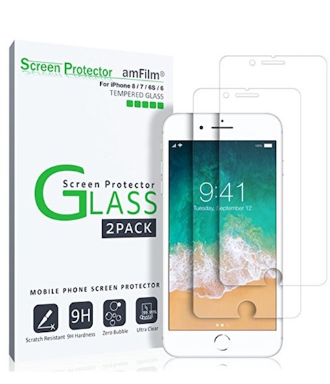 3. amFilm iPhone 8 tempered Glass Screen Protector