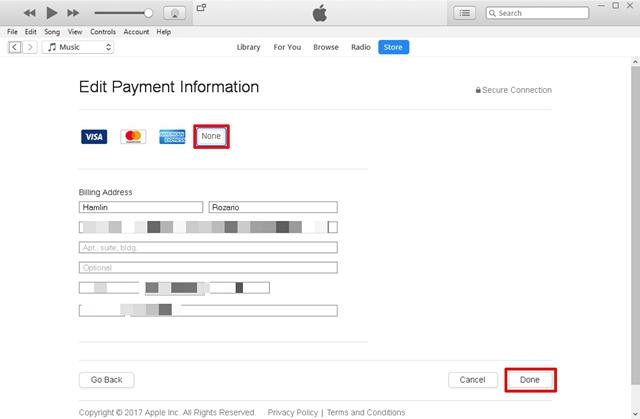 Modifica le informazioni di pagamento in Nessuna