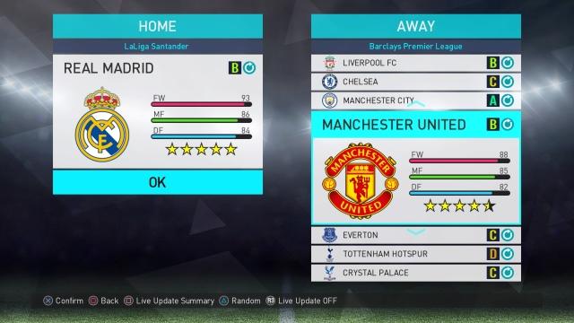 PES 2018 Real Madrid v Man Utd