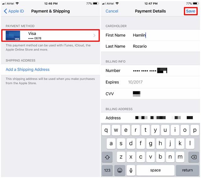 Modifica delle informazioni di pagamento dell'ID Apple - 2