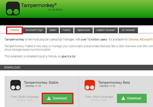 Downloading Tampermonkey