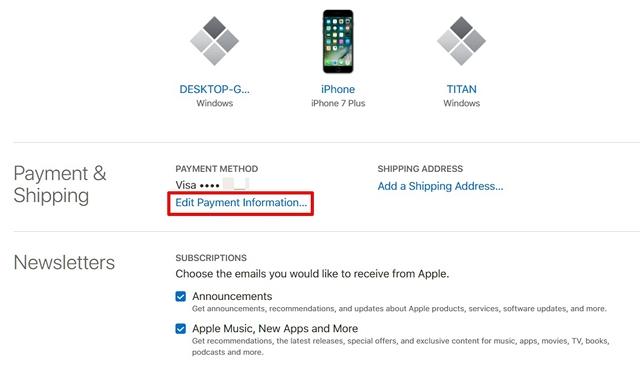 Modifica le informazioni di pagamento ID Apple Sito web