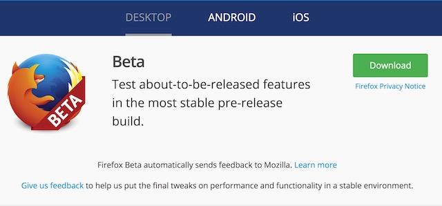 Install Firefox Quantum Beta 1