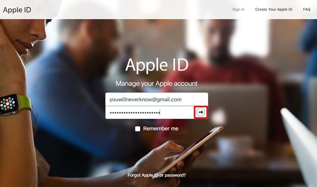 Accedi al sito web dell'ID Apple