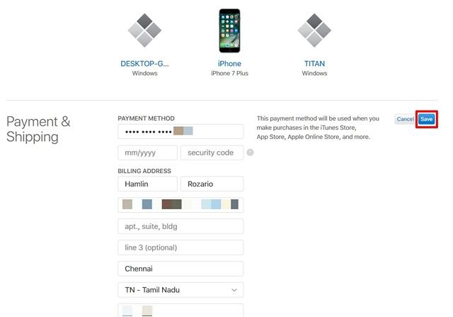Salva le informazioni di pagamento ID Apple Sito web