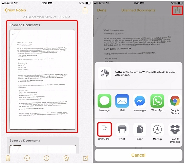 iOS 11 - 4'te Belgeleri Tara