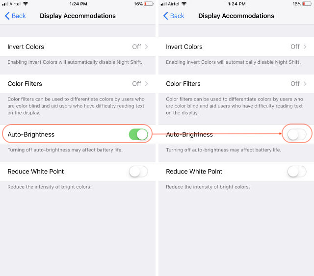 Turn Off Auto Brightness In iOS 11