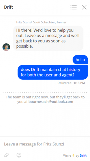 Drift Chat Window