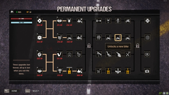 Road Redemption Campaign Permanent Upgrades