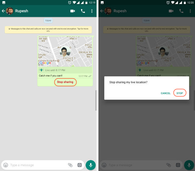 WhatsApp live location step 4