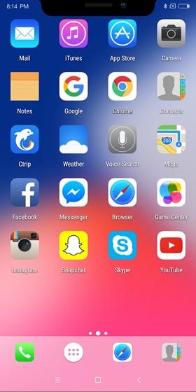 Layar Utama Seperti iPhone X