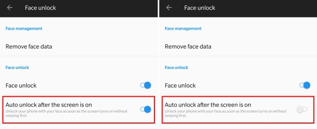 Auto Face Unlock OnePlus 5T