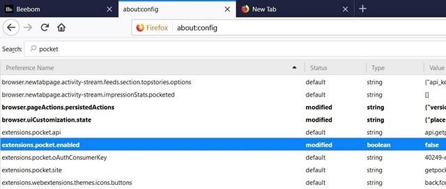Comment supprimer Pocket Integration de Firefox Quantum