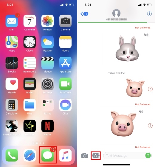 Open iMessages and Create Animoji