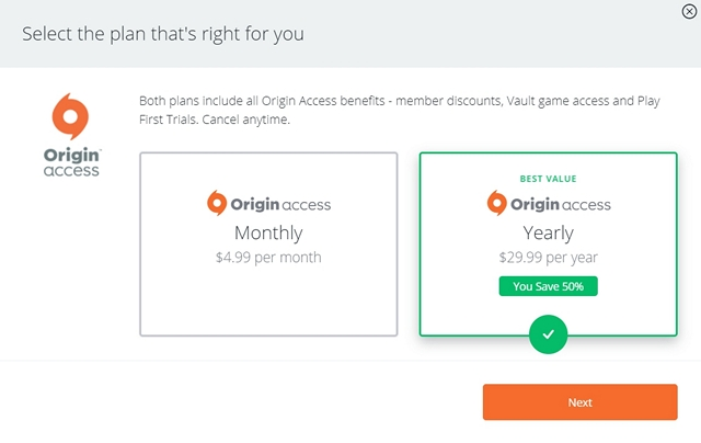 Origin Access Pricing