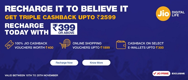 Reliance Jio Triple Cashback Offer