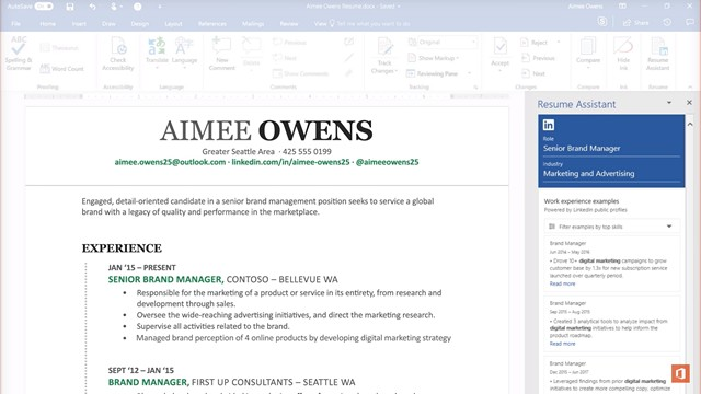microsoft brings a resume assistant to word  thanks to linkedin