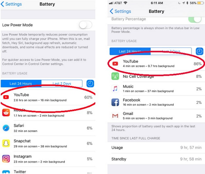 YouTube iOS Battery Drain