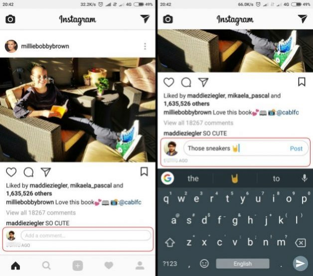 instagram inline comments screenshots